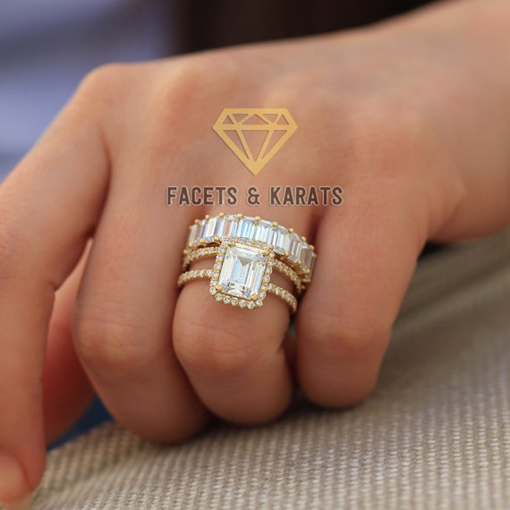14k Yellow Gold Emerald Cut Wedding Ring Set Of 3 Emerald Cut Etsy