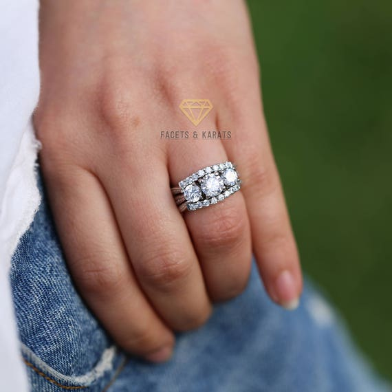 1.75 ct Center Three Stone Ring Top Russian Vintage CZ Size  5