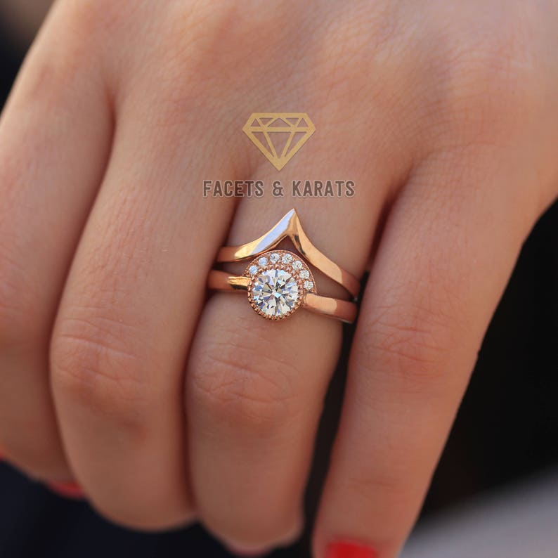 d34eaf7c32a68 Alternative Engagement Ring Set Made in Solid 14k Real Rose Gold, Unique  Wedding Bridal Ring Set for Women Minimalist Engagement Boho Rings