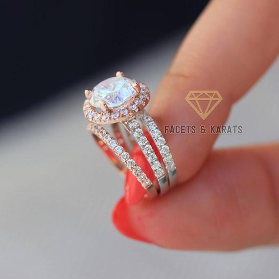 5 Carat Two Tone Wedding Ring Set Of 3 Rings Engagement Ring Etsy
