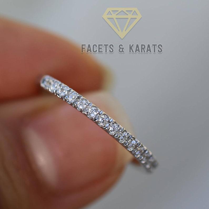 Womens Half Eternity Wedding Band 14k Solid White Gold image 0