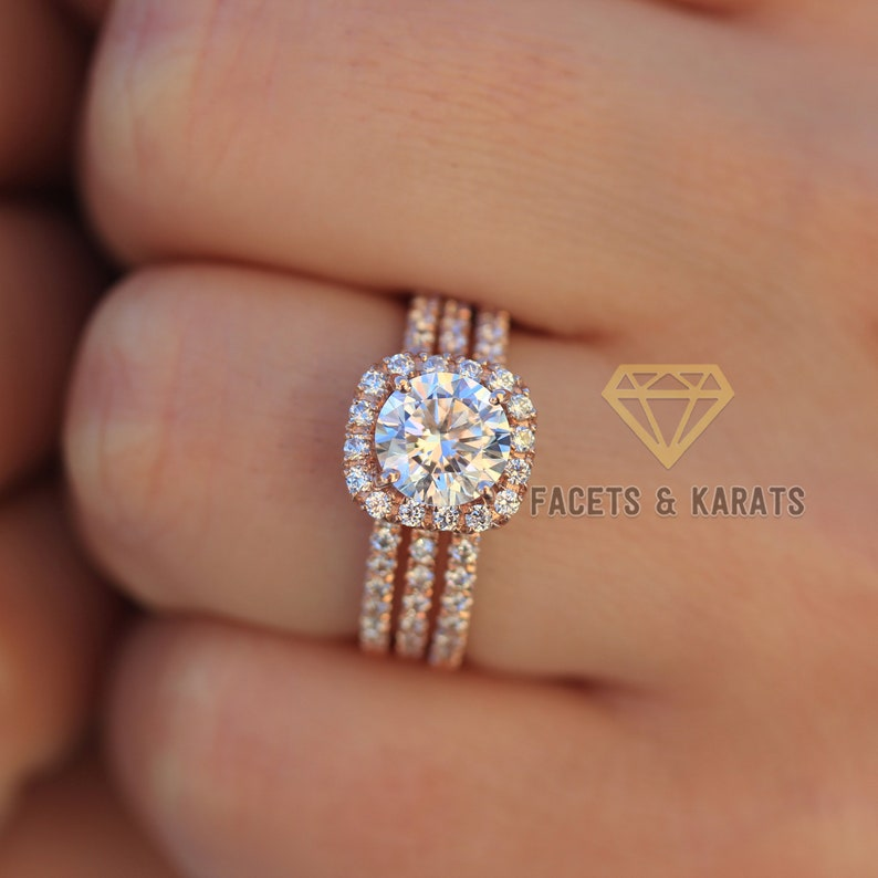 9587280e6005d 14K Rose Gold Wedding Ring Set of 3, Engagement Ring and Double Wedding  Bands by Facets & Karats on Etsy Available in White Gold Yellow Gold