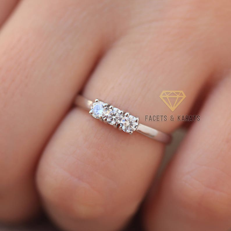 88668a38635 0.75ct Dainty Three Stone Promise Ring Engagement Ring | Etsy