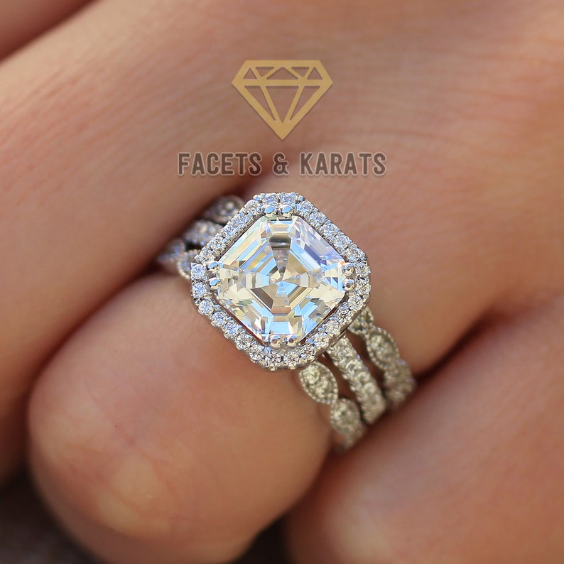 869f0b1783bed Vintage Style Engagement Ring Eternity Bands, 14k White Gold Square Wedding  Ring Wedding Band Bridal Set Vintage Eternity Bands Halo Ring