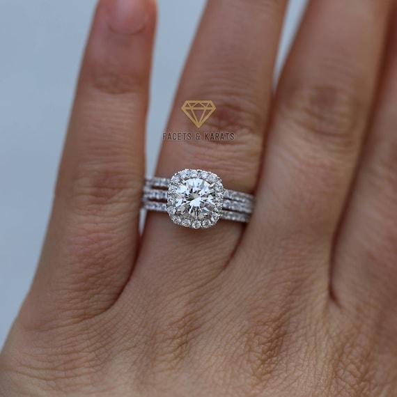 Halo Engagement Ring Set 18k Solid White Gold 3 Carat Bridal Etsy