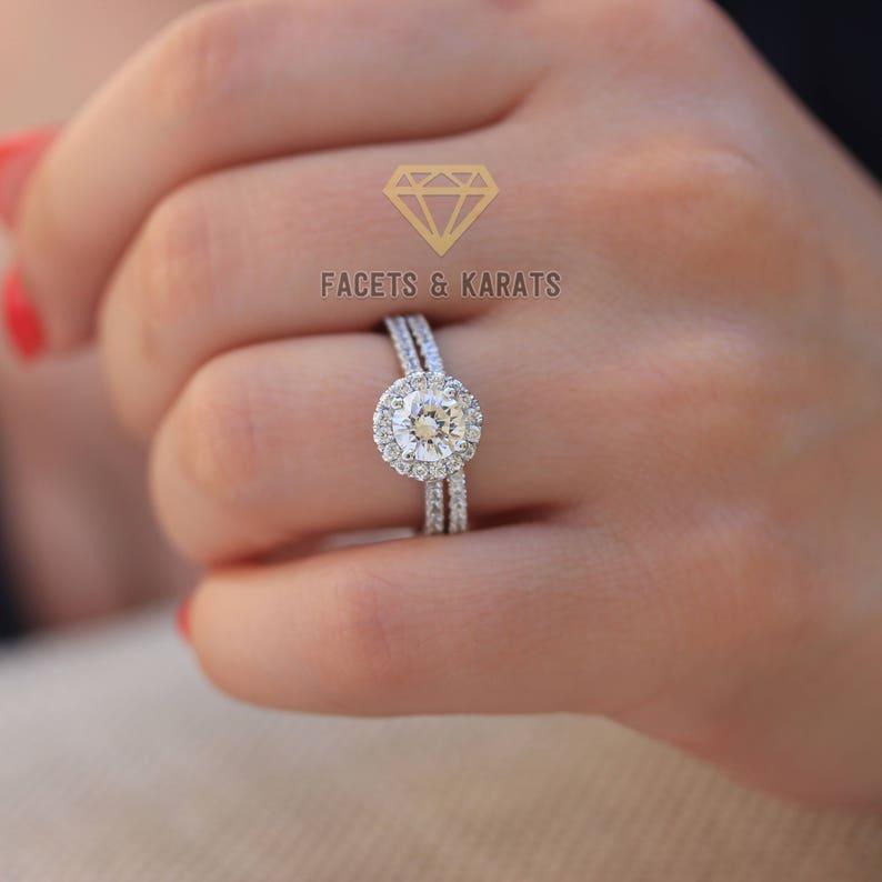 Engagement & Wedding United 2.50 Ct Round Diamond Wedding Ring Band Set 14k White Gold Party Bridal Size 4 5