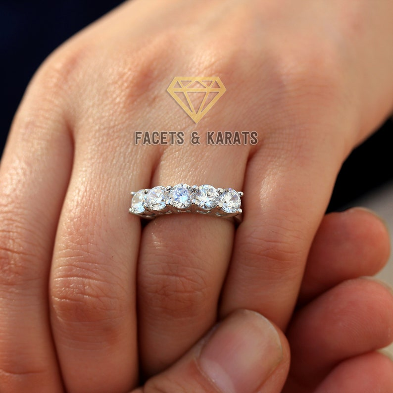 2.5 cttw 5 Stone Diamond Wedding Band Anniversary Ring 14K SOLID White Gold Rose Gold Yellow Gold Anniversary Gift For Her Mothers Day Gifts