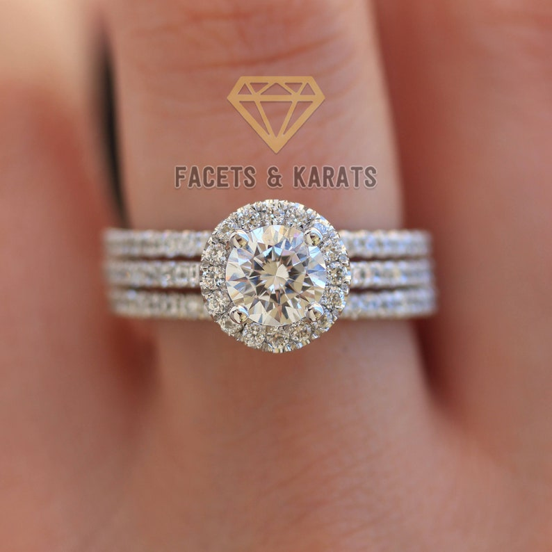 f5990b8694f90 2.50 cttw Round Cut Halo Engagement Ring Set 14k SOLID White Gold With  Double Matching Wedding Bands Wedding Ring Sets by Facets and Karats