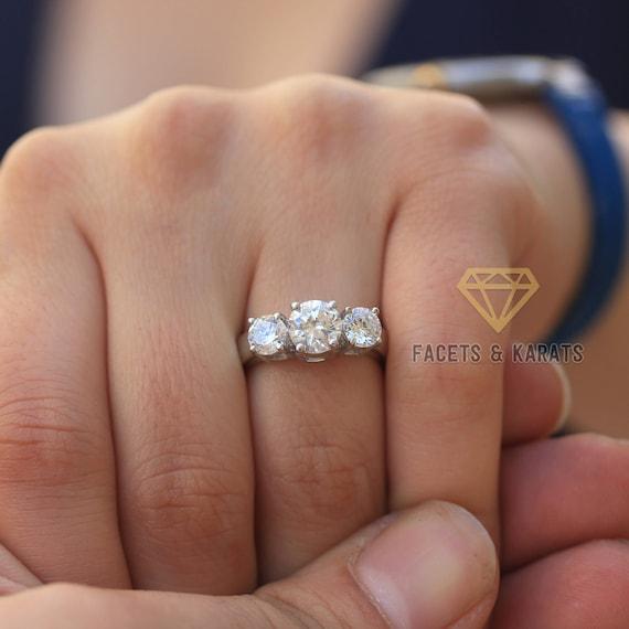 2 Carat Classic Three Stone Engagement Ring Solid Heavy 14k  b7343dbcc4e3