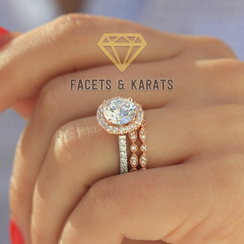 3ac88f2c4098b 3.60 ct Round Cut Engagement Ring Wedding Band Bridal Set Halo Wedding Ring  Set Made in Solid Real 14K Rose Gold by Facets & Karats on Etsy
