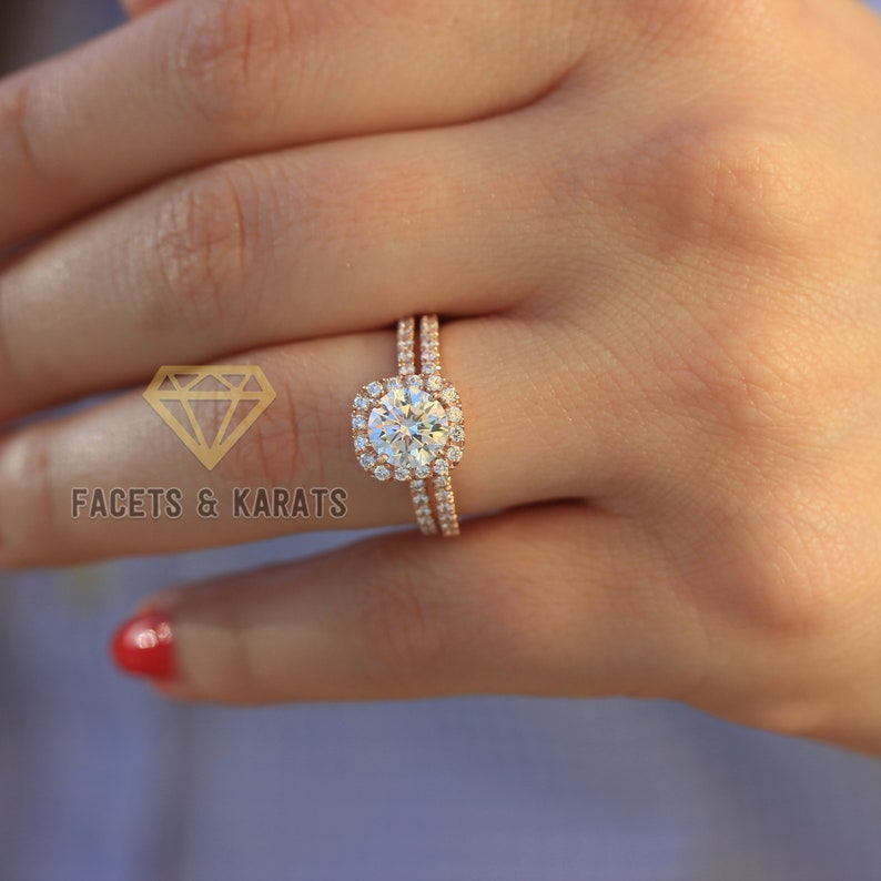 29f5972f332c7 2.25 ctw Round Classic Halo Ring 14k Solid Rose Gold Wedding Set Engagement  Ring Man Made Diamond Simulant Half Eternity Ring, Bridal Ring,