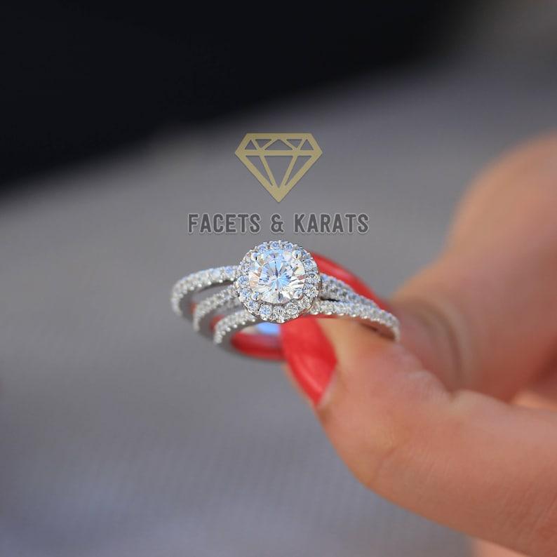 70f59050e78c0 18k White Gold Round Cut Engagement Ring Bridal Set 3 Carat Round Halo  Diamond Wedding Ring & Wedding Bands Man Made Simulated Diamonds