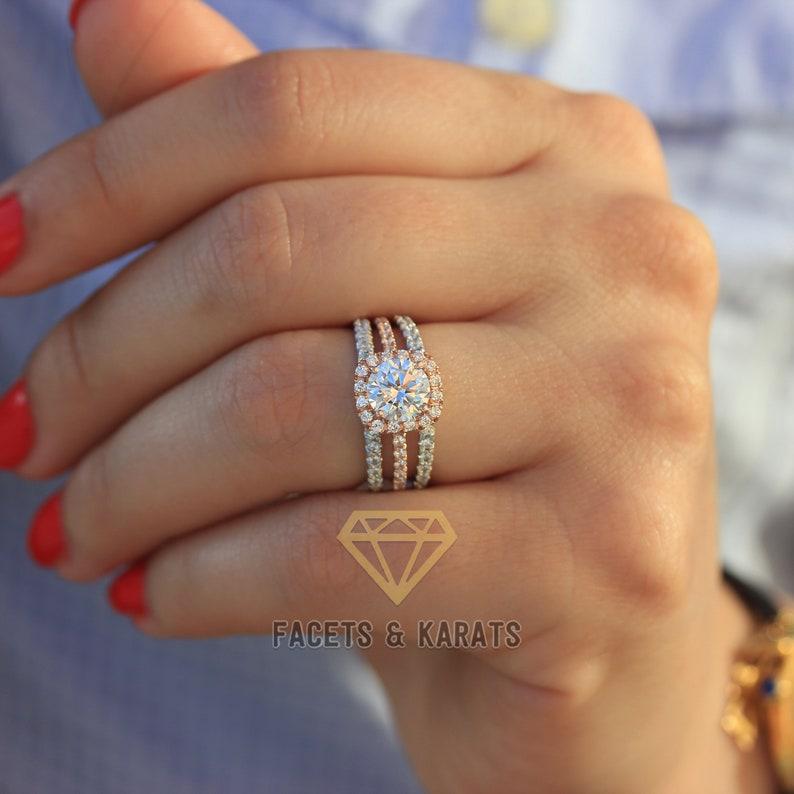 77b9d81cc8e10 3.00 ctw Classic Square Halo Bridal Set Ring, Wedding Set, Man Made Diamond  Simulant, Half Eternity Band, Solid Real 14k Rose Gold by F&K