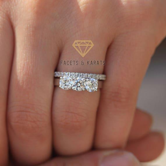 Three Stone Wedding Ring Set Bridal Set 14k White Gold Etsy