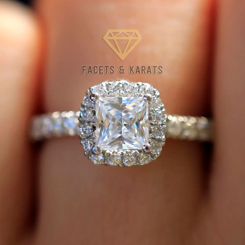 2e804dfeec8e6 1.5 ctw Princess Cut Engagement Ring Solid 14k White Gold Lab Created Man  Made Synthetic Simulated Diamonds, Halo Ring, Wedding Bridal Ring