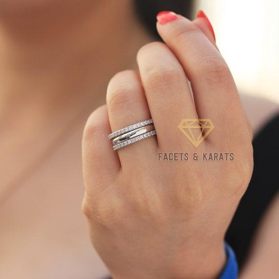 18k Solid 3 pcs Gold Band Set Rings Women/'s Wedding Band~Thin Wedding Band Thin Gold Band Gold Stacking Ring~Midi Ring 3 pcs set Ring