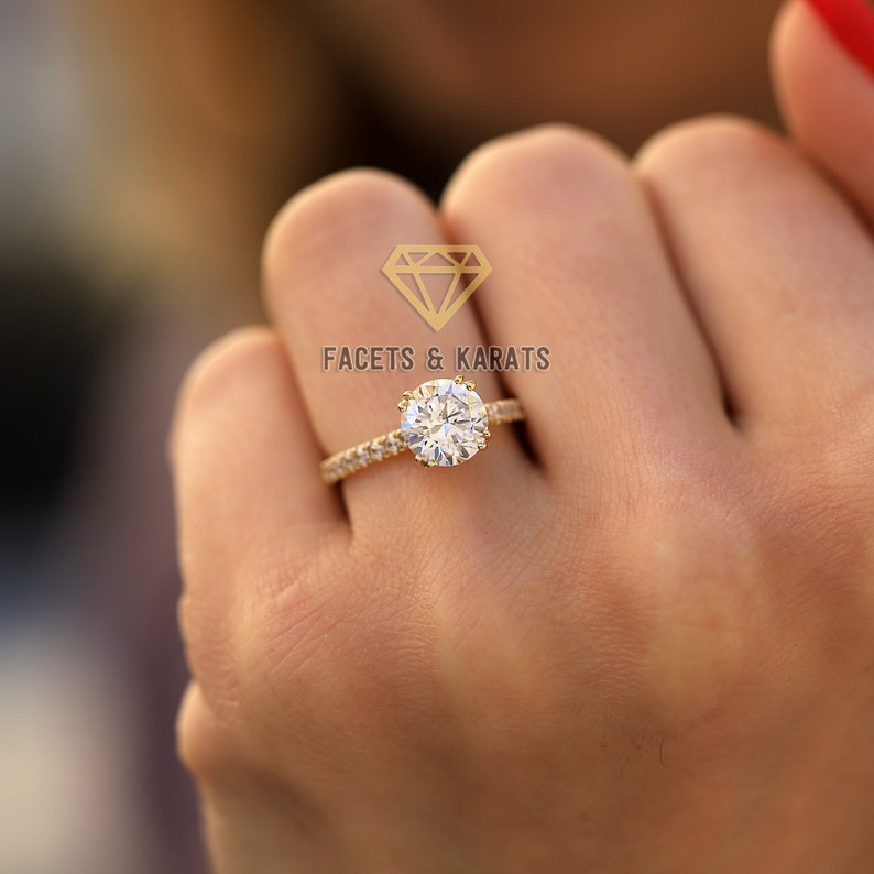 9b39e14f5c08b 2 Carat Round Cut Simulated Diamond Solitaire Wedding Engagement Ring With  Side Accent Stones, 14K Solid Yellow Gold Avl. White & Rose Gold