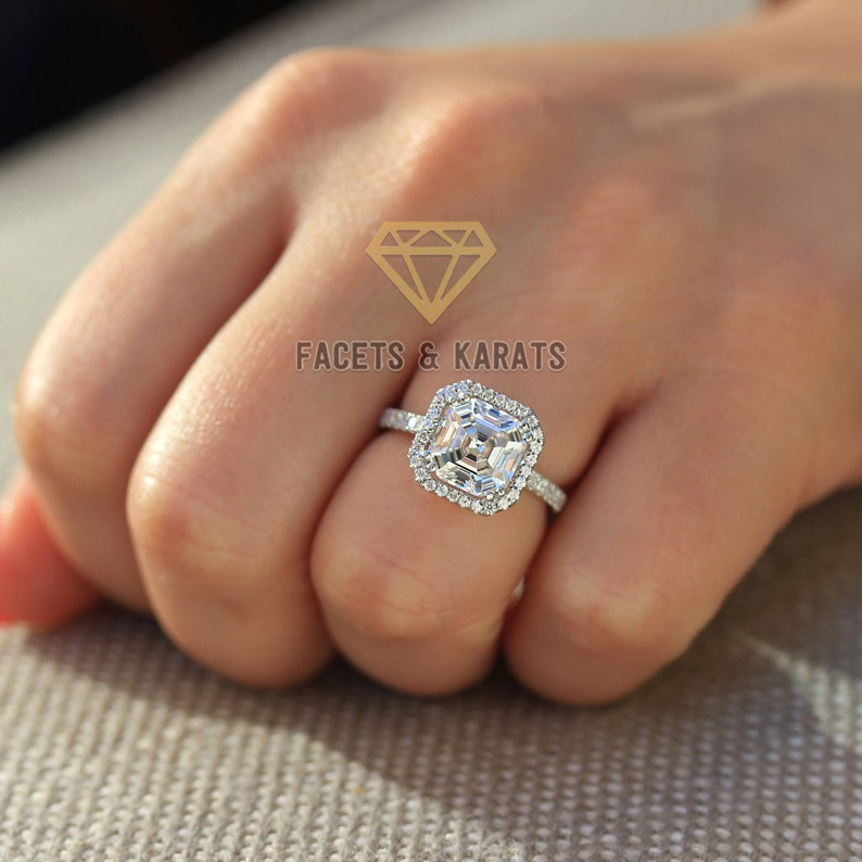 9743c05fd6473 Asscher Cut Engagement Ring 14k Solid White Gold Halo Wedding Ring by  Facets & Karats on Etsy Rings Lab Created Synthetic Simulated Diamonds