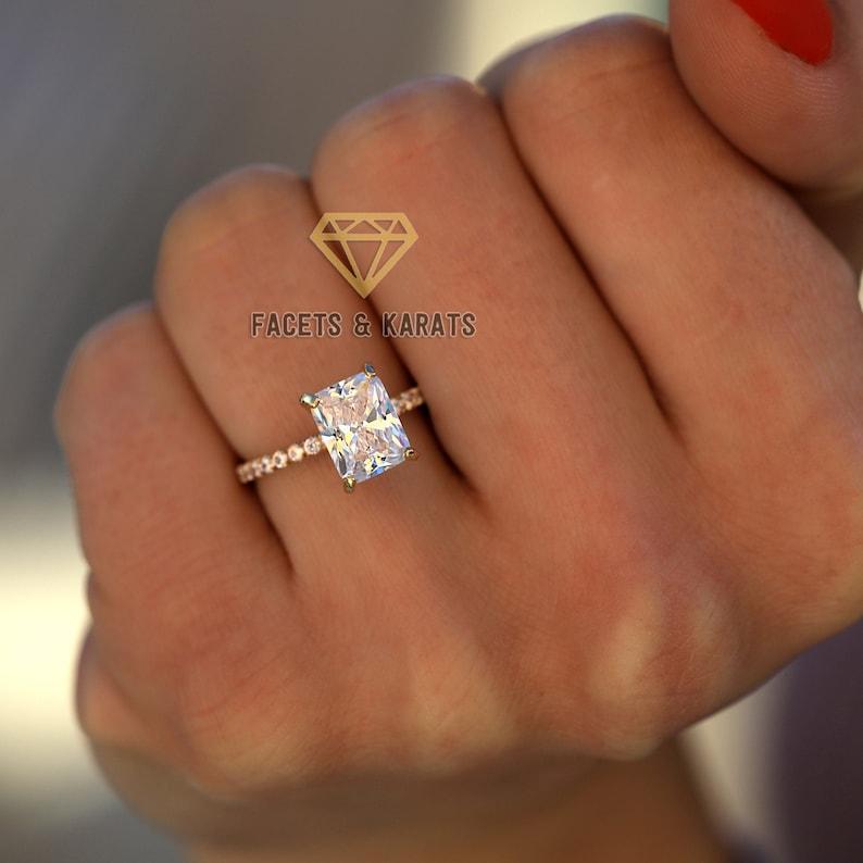 3dd1862f72f09 14K Yellow Gold Radiant Cut Engagement Ring, 2 Carat Wedding Ring, Simple  Bridal Ring, Classic Engagement Rings, Rectangular Weddings Rings