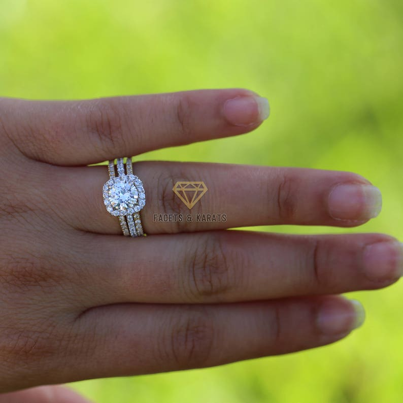 c427a2af679a4 14k Solid Gold 2.55 ctw Classic Square Halo Bridal Set Ring, Wedding Set,  Man Made Diamond Simulant, Half Eternity Band, 3 band
