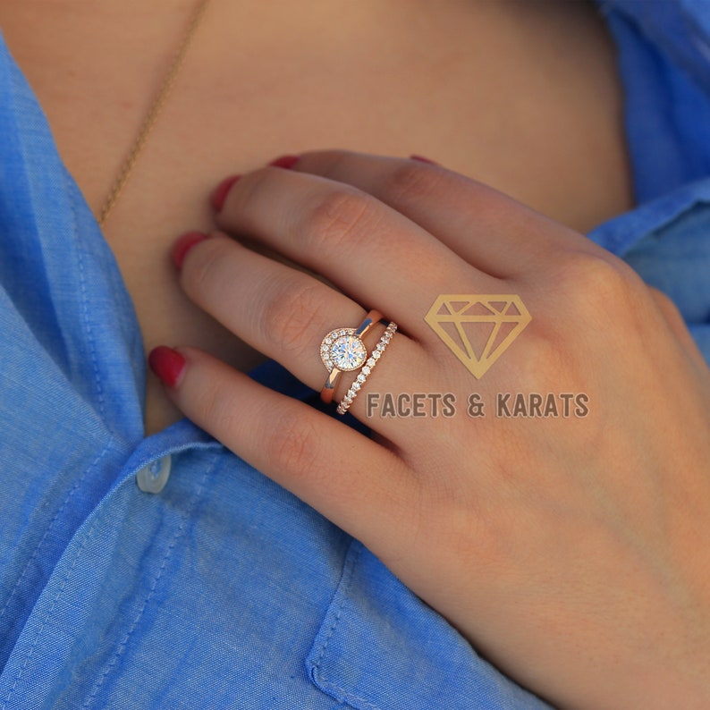 07981bbb735a8 Minimalist Unique Engagement Ring & Matching Half Eternity Wedding Band  Wedding Ring Set 14K SOLID Rose Gold by Facets and Karats on Etsy