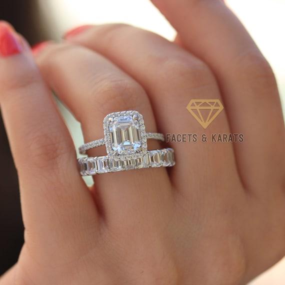 Emerald Cut Engagement Ring Wedding Band Bridal Wedding Ring Etsy