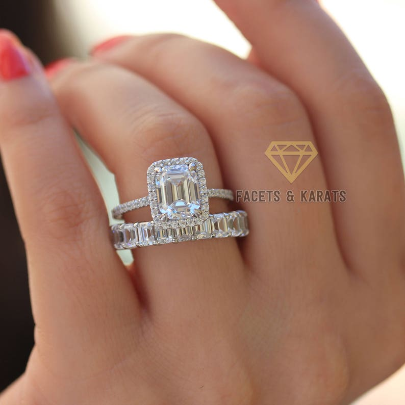 20fc110633ed9 Emerald Cut Engagement Ring Wedding Band Bridal Wedding Ring Set Made in  Solid 14k White Gold - Yellow Gold - Rose Gold