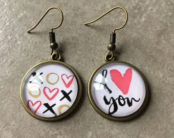 Love - Bronze earrings cabochon glass 20mm
