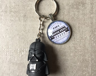 Dad and Dark Vader from Star wars - key ring round 25mm glass cabochon