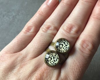 Leopard - Bronze round ring adjustable 2 10mm glass cabochons