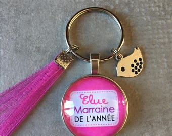Godmother - Key ring round 25mm glass cabochon