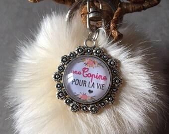 Girlfriend / friend - bag charm with tassel fur cabochon glass 20mm