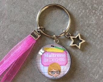 Teacher - Key ring round 25mm glass cabochon