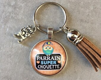 Godfather - Key ring round 25mm glass cabochon