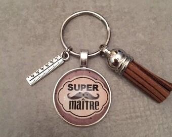 Master - Key ring round 25mm glass cabochon
