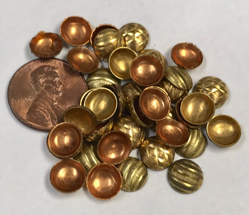 Vintage BRASS COPPER Domes Recycled Industrial Steampunk Craft Supply for Mixed Media 8x2mm Pkg35 MS82