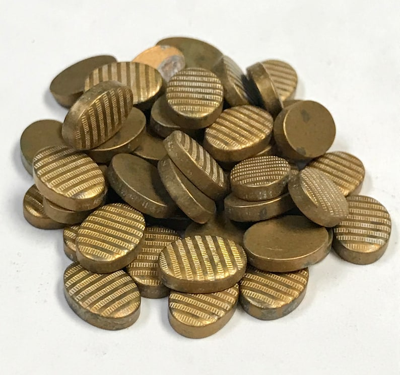 Vintage BRASS OVAL Ribbed Stampings Recycled Industrial Steampunk Craft Supply Mixed Media Assemblages 10x7x2.5 mm  PKG50 MS70
