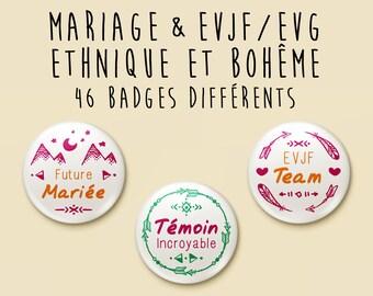 Badge - Wedding - Ethnic Collection / Bohemian / Boho / Gypsy - unit