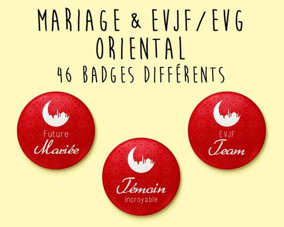 Badge Mariage Oriental / Musulman / Islamique - à l'unité