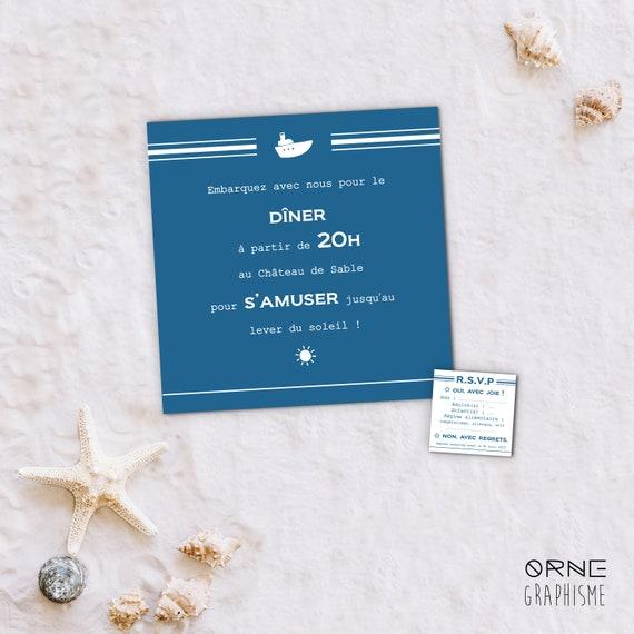 Lot : Invitation Dîner & RSVP Mariage Collection Mer