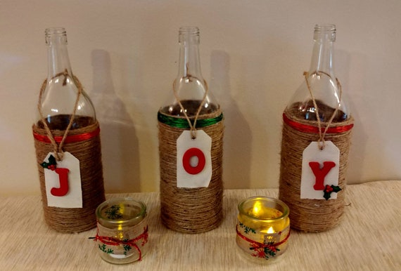 Christmas Liquor.Christmas Joy Decor Shabby Chic Rustic Holiday Liquor Bottle Decor Twine Wrapped Bottle Christmas Centerpiece