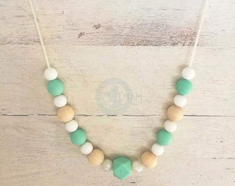 Necklace for Babywearing or nursing white & Mint