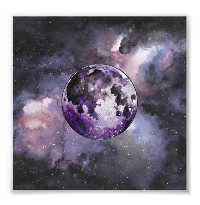 Mystic Moon Watercolor Painting Print - Moon Art - Lady Luna (6