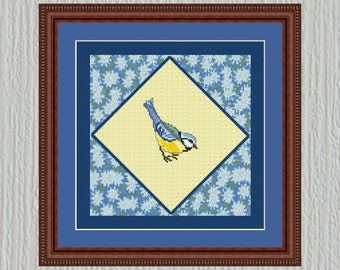 Cross Stitch Pattern Quilt Block Blue Bird