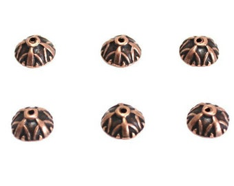 20 Coupelles Calottes Caps Intercalaires Motif Fleur 10mm x 4mm Métal Bronze