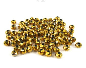 30 glass beads faceted 6 mm gold metallic