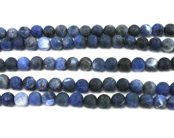 10 round beads 6 mm frosted Sodalite blue