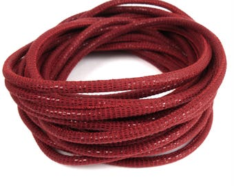 Leather cord nappa red X 20 cm scales effect