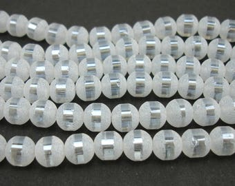20 8 mm metallic and frosted white glass beads