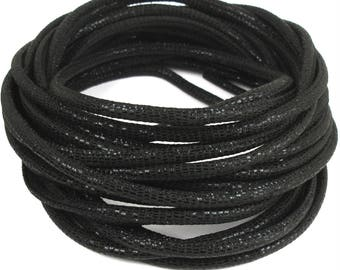 Leather cord nappa black X 20 cm scales effect